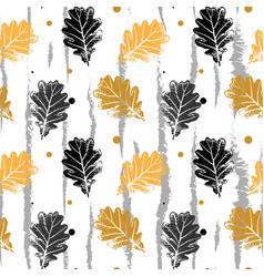 Seamless pattern with oak leaf orang and vector