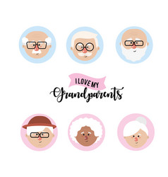 Set avatar grandparent head with hairstyle vector