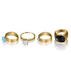 set of golden rings vector image