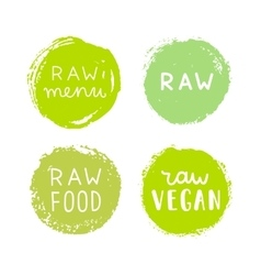 Set of raw vegan badges vector
