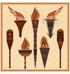 Set ornamental blazing torches elements greek vector image