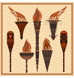 Set ornamental blazing torches elements greek vector