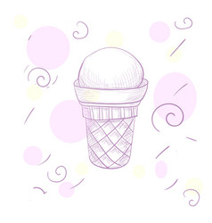 sketch ice-cream sweet wafer cone vector image