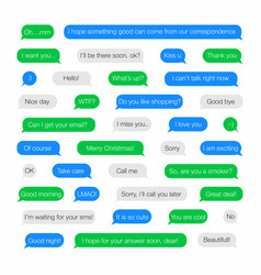 sms bubbles template for messenger with short vector image