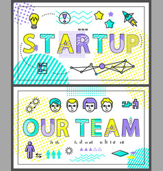 start up and our team set vector image
