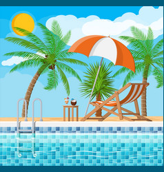 Swimming pool and lounger palm tree vector