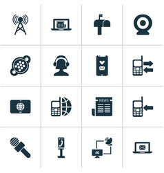 Telecommunication icons set with ip camera vector
