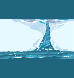 Tornado on water nature disaster vector