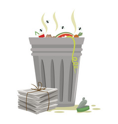 trash can cartoon icon waste paper tin can lying vector image