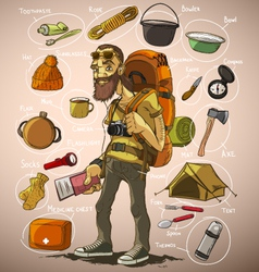 Traveler and a set things for travel vector