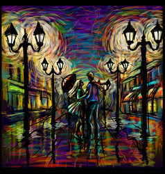 two lovers with an umbrella in rain abstract vector image