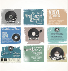 vinyl record shop retro grunge banner collection vector image