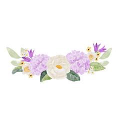 watercolor white camellia and purple hydrangea vector image