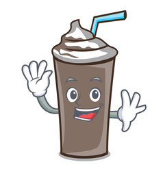waving ice chocolate character cartoon vector image