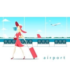 Woman with suitcase at the airport vector image