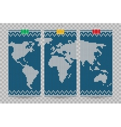 World map business cards set blue knitting vector
