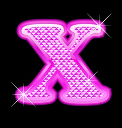 X letter pink bling girly vector