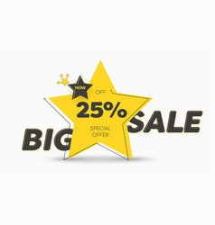 yellow sticker design in shape a star with vector image