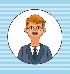 young man round icon profile vector image