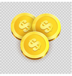 gold shiny coins with dollar signs isolated vector image vector image