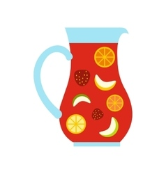 Jar and glass of fresh sangria icon flat style vector image