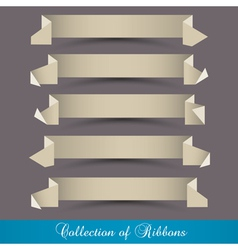 set of origami paper ribbons banners vector image
