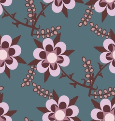 Blue seamless pattern with pink flowers vector