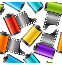 Camera Film Roll Cartrige Background Pattern vector image