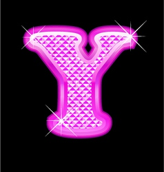 Y letter pink bling girly vector image vector image