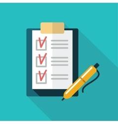 Checklist with pen icon vector