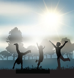Children playing in the countryside vector image