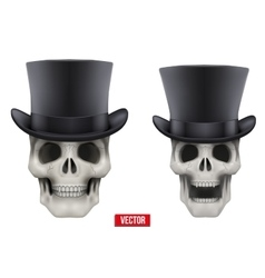 Human skull with black cylinder hat vector image
