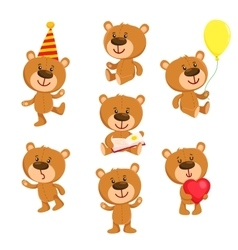 Set of cute teddy bear character standing sitting vector image vector image