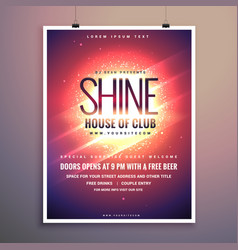 Shine club music party flyer template with vector