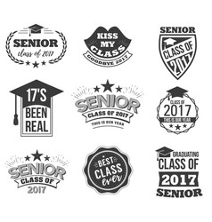 the set of black colored senior text signs with vector image