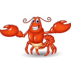 Cartoon happy lobster hands up isolated vector image vector image