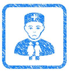Family doctor framed stamp vector