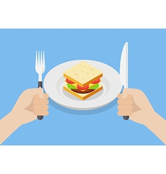 Knife and fork cutlery in hands with sandwich vector image vector image