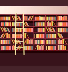 library bookshelves wall vector image