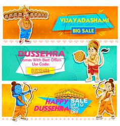 lord rama and ten headed ravana for happy dussehra vector image vector image