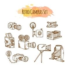 Retro Photo Cameras Hand Drawn vector image