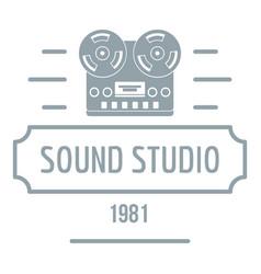retro sound studio logo simple gray style vector image vector image