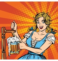 Young blond woman pours a beer Germany national vector image vector image