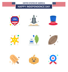 9 flat signs for usa independence day adobe vector