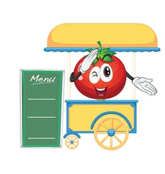 A cart stall and a tomato vector