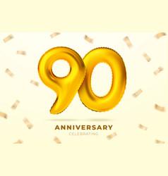 anniversary golden balloons number 90 vector image