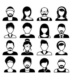 Avatar icons male and female faces vector