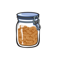 Big glass jar with swing top lid sketch vector