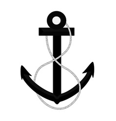 Black anchor with rope vector image