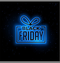 black friday blue neon gift background design vector image